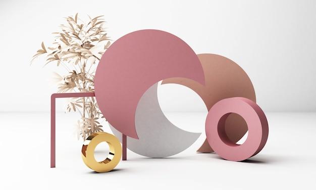 기하학적 형태와 3d 렌더링 흰색 배경입니다. 골드와 핑크 파스텔 컬러의 블랙 글래스 프로모션이나 제품 쇼를위한 트렌디 한 디자인. 프리미엄 사진