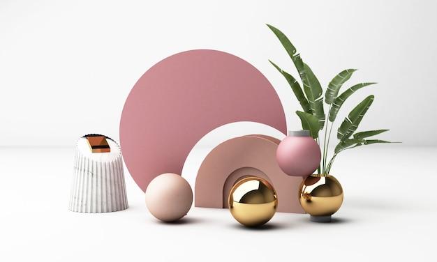 기하학적 형태와 3d 렌더링 흰색 배경입니다. 골드 및 핑크 파스텔 색상 프로모션 또는 제품 쇼를위한 트렌디 한 디자인. 프리미엄 사진