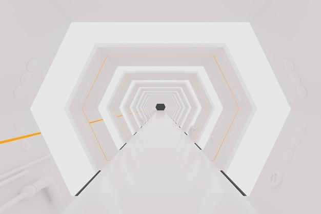 3d render. white futuristic spaceship interior corridor Premium Photo