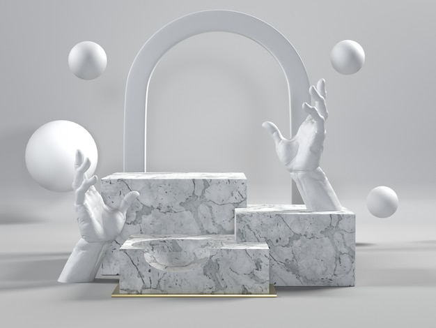 3d render of white marble podiums with hands Premium Photo