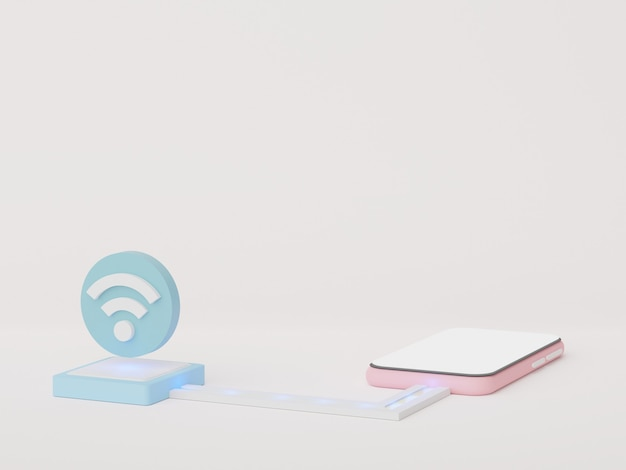 3d render wireless network connection to device online network with high speed internet