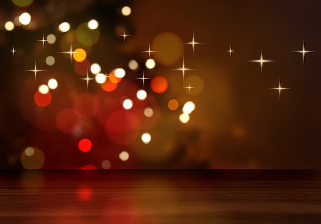 3d render of a wooden table looking out to a defocussed christmas tree Free Photo
