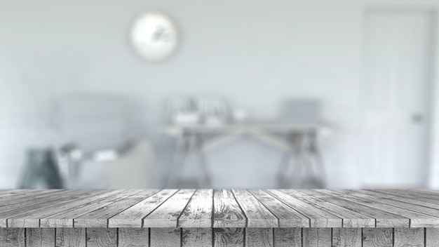 3d render of a wooden table looking out to a defocussed room interior Free Photo