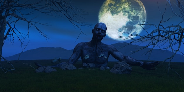 3d render of a zombie coming out of the ground Free Photo