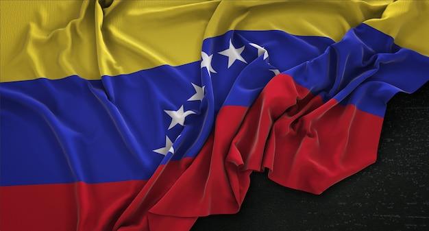 Венесуэльский флаг с морщинами на темном фоне 3d render Бесплатные Фотографии