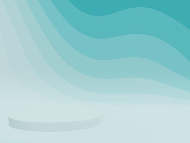 3dレンダリングされた抽象的な緑がかった青のグラフィック輪郭表彰台 Premium写真