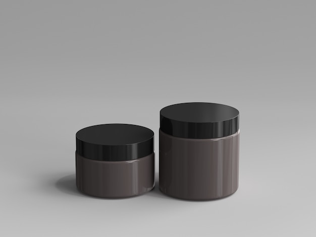 3d rendered cosmetic jar without a label Premium Photo