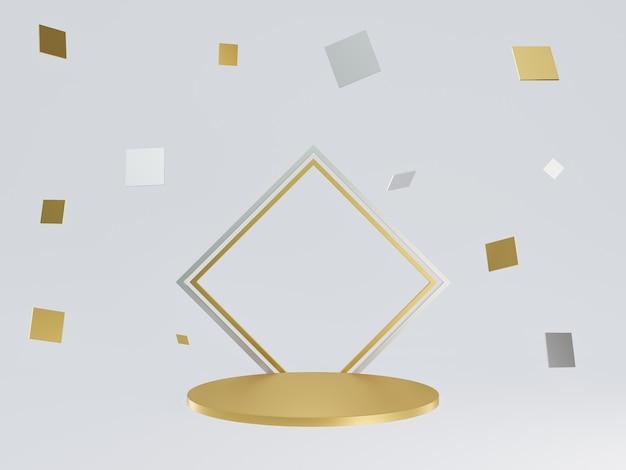 3d 렌더링 기하학적 금색과 은색 연단 프리미엄 사진