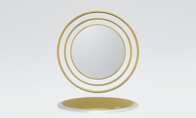 3d 렌더링 금색과 은색 연단 프리미엄 사진