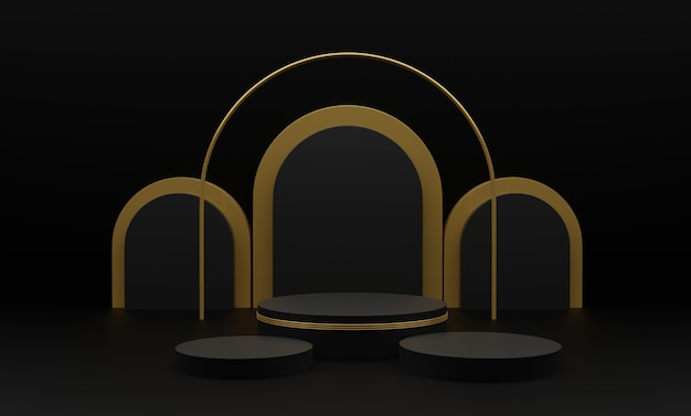 3d rendered illustration with geometric 3 shapes. gold cylinder podium platforms for product presentation. abstract composition in modern style. Premium Photo
