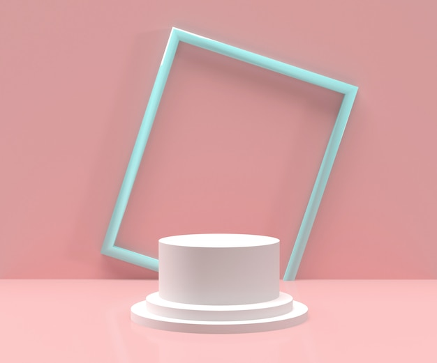 3d rendered - white podium with blue frame and pink background for  products display Premium Photo