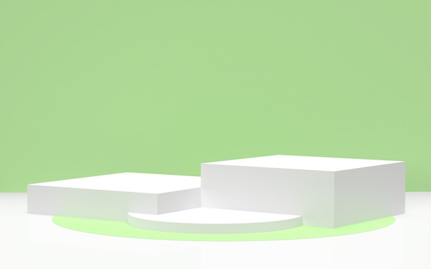 3d rendered - white podium with green background for eco friendly products display Premium Photo