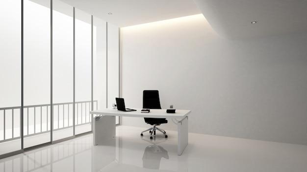 Офисная комната или офисная комната, 3d renderin Premium Фотографии