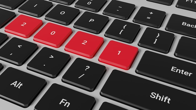 3d rendering of 2021 new year on laptop keyboard Premium Photo