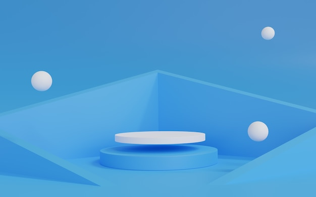 3d rendering of abstract christmas scene with podium Premium Photo