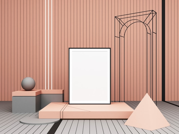 3d rendering abstract composition pastel geometric shapes on pink background for presentation Premium Photo