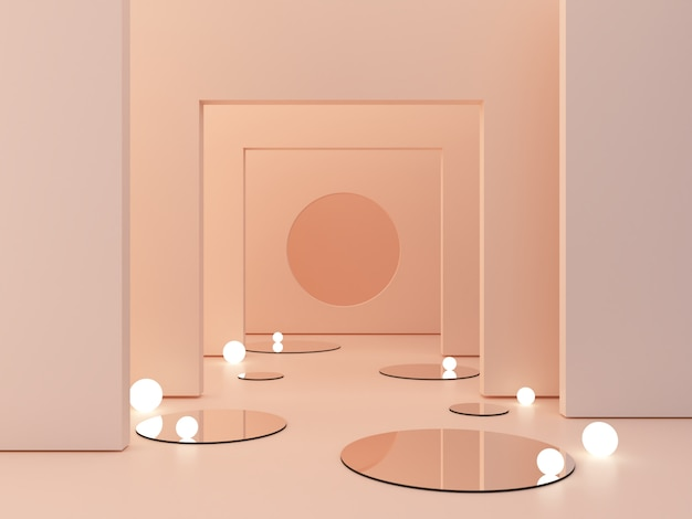 3d rendering, abstract cosmetic background. show a product. empty scene with cylinder mirror and spherical lights  in the floor. Premium Photo