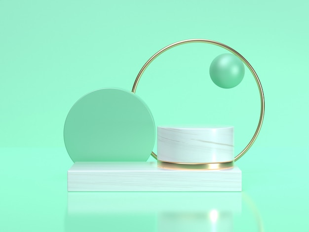 3d rendering abstract geometric shape still life set green white scene gold circle frame Premium Photo