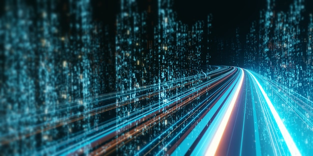 3d rendering of abstract highway path through digital binary towers in city. Premium Photo
