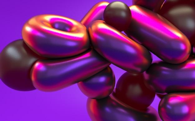 光沢のある反射とピンクパープルネオンの光で3 dレンダリングの抽象化。ホログラフィック虹色効果の背景。 Premium写真