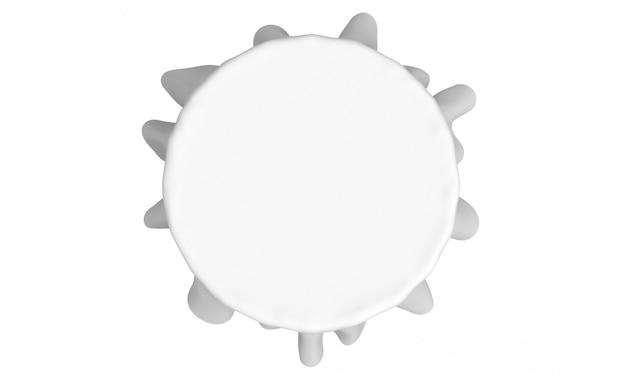 3dレンダリング。空の白いテーブルクロスの空撮は、白い背景で隔離のクリッピングパスとの結婚式のパーティーで使用します。 Premium写真