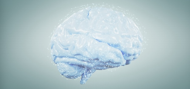3d rendering artificial brain isolated on a background Premium Photo