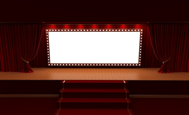 3d rendering of background with a red curtain and a spotlight. festival night show poster. Premium Photo