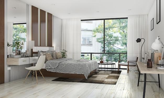 Irish Pearls 3d rendering beautiful bedroom with nice decoration near terrace Premium Photo