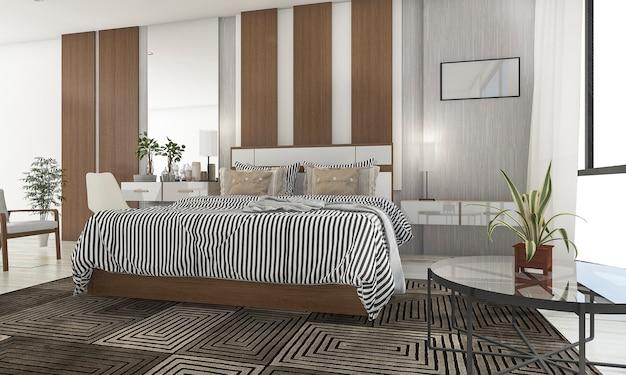 3d rendering beautiful bedroom with nice terrace Premium Photo
