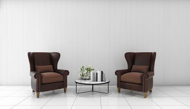 3d rendering beautiful leather sofa in white minimal room Premium Photo