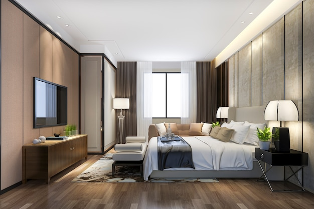 3d rendering beautiful luxury bedroom suite in hotel with tv and working table Premium Photo