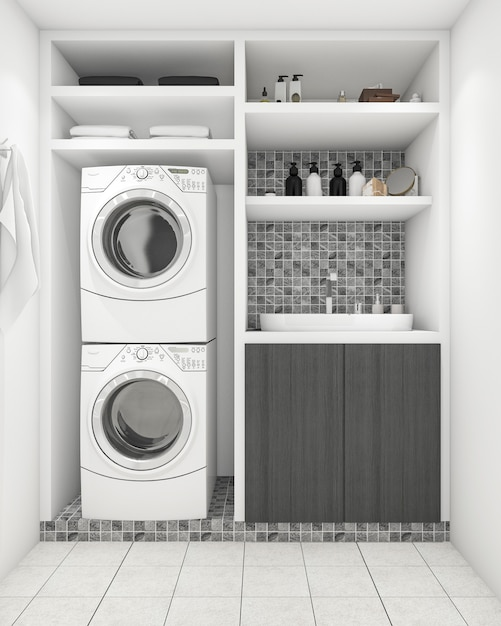 3d rendering beautiful modern white laundry room with decoration Premium Photo