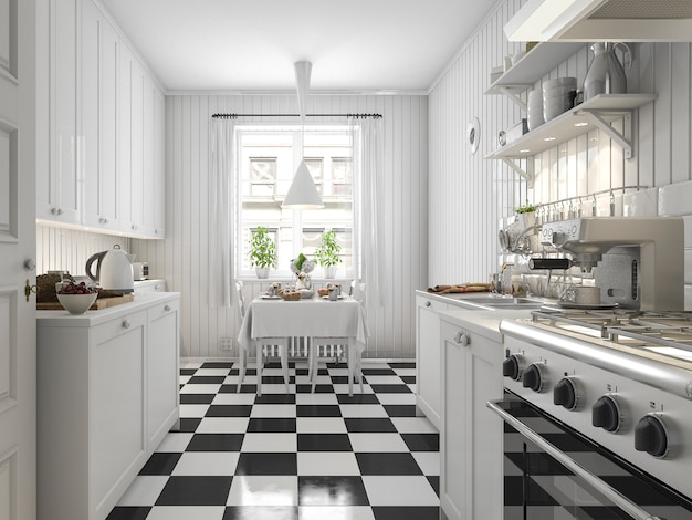 3d rendering beautiful scandinavian kitchen with black tile decor Premium Photo