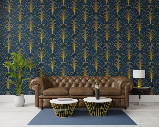 Premium Photo 3d Rendering Big Living Room Interior Design Art Deco Style Big Brown Sofa Dark Green Wall For Mock Up And Copy Space