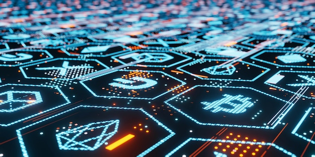 3d rendering of bitcoin and other crypto currencies led glow on dark glossy glass board with blockchain data dots and lines. Premium Photo