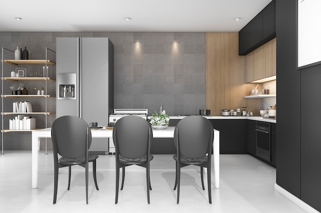 3d rendering black decor kitchen with wood design Premium Photo