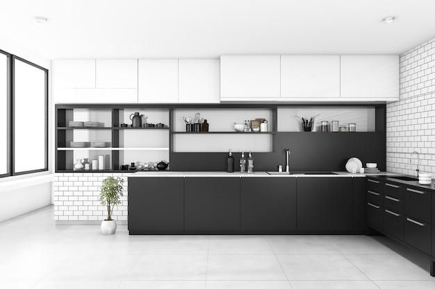 3d rendering black kitchen with brick wall Premium Photo