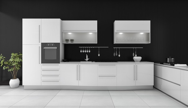 3d rendering black modern kitchen with white counter Premium Photo