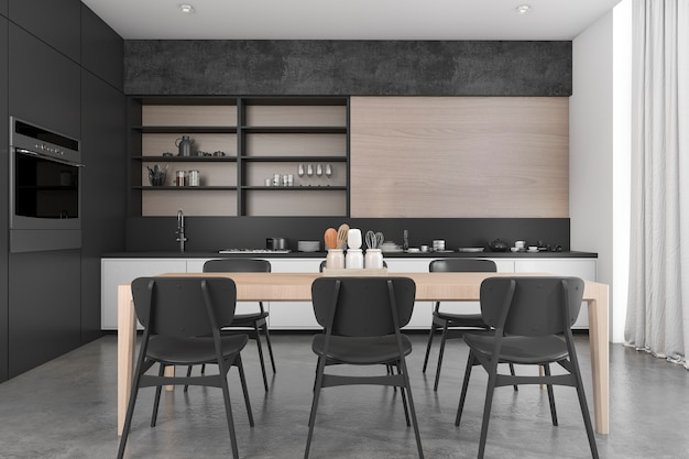3d rendering black wood loft dining room and kitchen Premium Photo