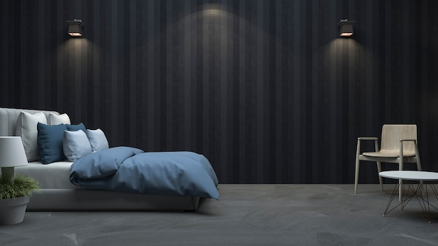 3d rendering black wood wall bedroom with nice light Premium Photo