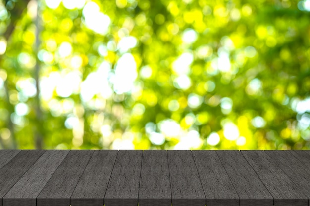 3d rendering, black wooden shelves or black wood table with view nature background, Premium Photo
