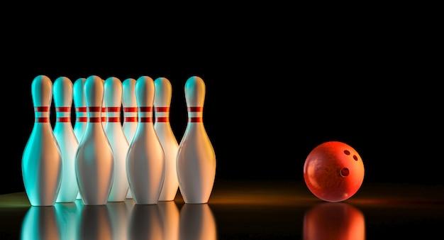 3d rendering of bowling stuff Premium Photo