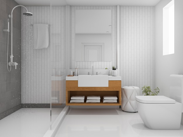 3d rendering bright bathroom with shower Premium Photo
