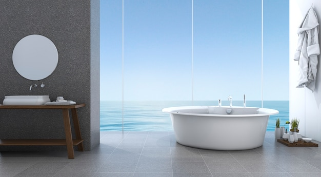 3d rendering bright minimal bathroom near beach Premium Photo