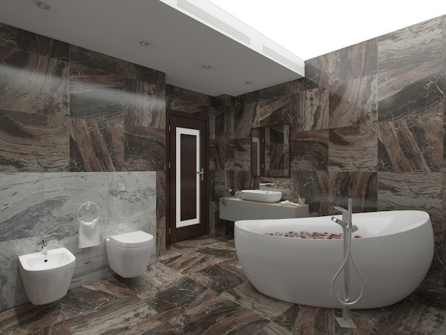 3d rendering brown bathroom Premium Photo