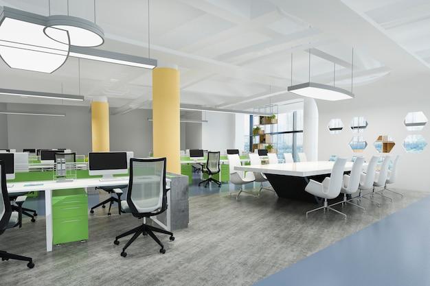 緑と黄色の装飾が施されたオフィスビルの3 dレンダリングビジネス会議と作業室 Premium写真