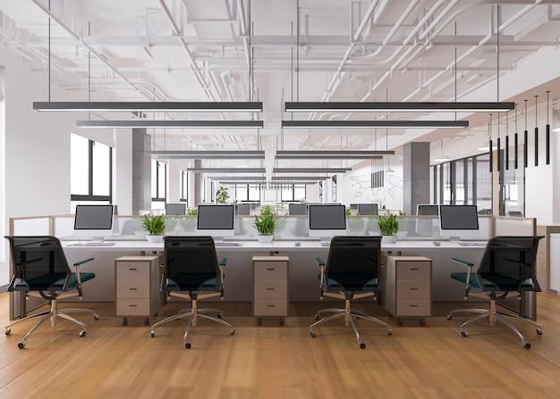 3 dレンダリングのビジネス会議とオフィスビルの作業室 Premium写真