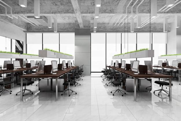 オフィスビルの3dレンダリングビジネス会議と作業室 Premium写真
