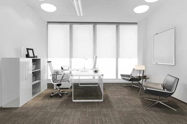 3d rendering business meeting room on high rise office building Premium Photo