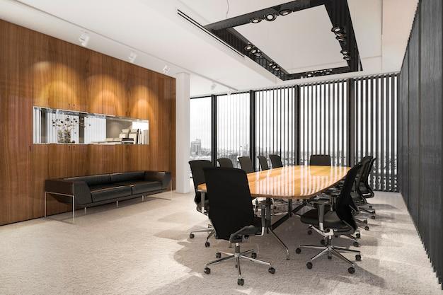 高層オフィスビルの3 dレンダリングビジネス会議室 Premium写真
